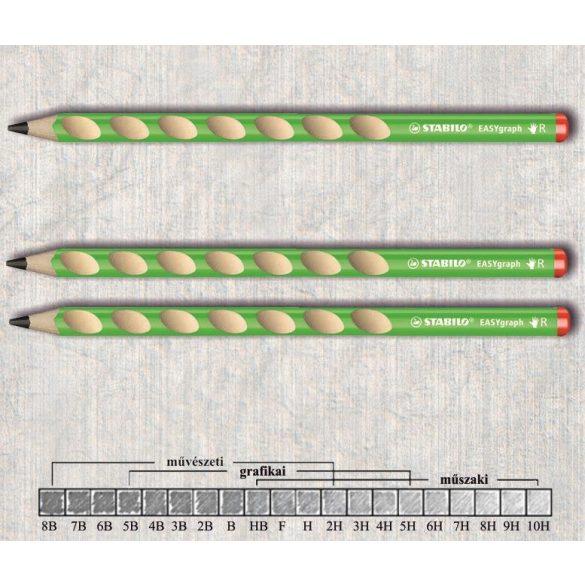 Grafitceruza HB jobbkezes vastag háromszögű lakkozott EASYgraph Stabilo - zöld ceruzatest