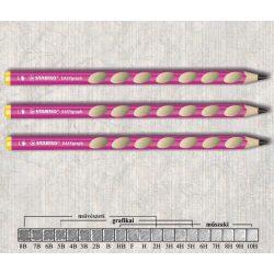 Grafitceruza HB balkezes vastag háromszögű lakkozott EASYgraph Stabilo - rózsaszín ceruzatest