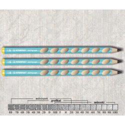 Grafitceruza HB balkezes vastag háromszögű lakkozott EASYgraph Stabilo - kék ceruzatest
