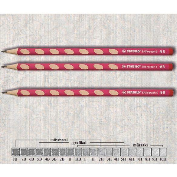 Grafitceruza HB jobbkezes háromszögű lakkozott EASYgraph Stabilo - rózsaszín ceruzatest