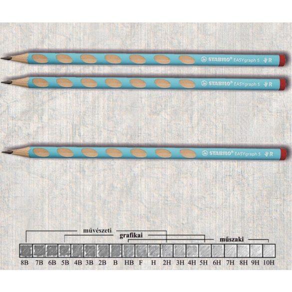 Grafitceruza HB jobbkezes háromszögű lakkozott EASYgraph Stabilo - kék ceruzatest