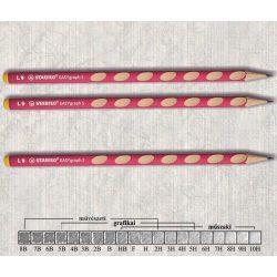 Grafitceruza HB balkezes háromszögű lakkozott EASYgraph Stabilo - rózsaszín ceruzatest