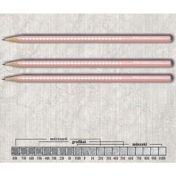Grafitceruza B háromszögű lakkozott Sparkle Faber-Castell - világos rózsaszín gyöngyház ceruzatest