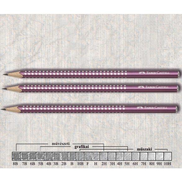 Grafitceruza B háromszögű lakkozott Sparkle Faber-Castell - bordó gyöngyház ceruzatest