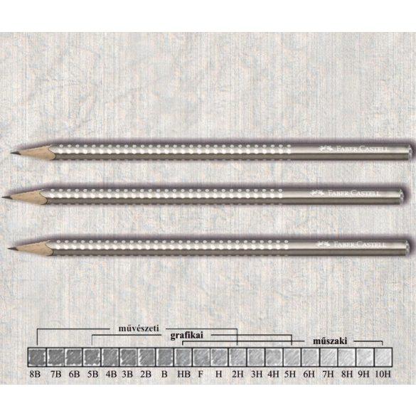 Grafitceruza B háromszögű lakkozott Sparkle Faber-Castell - ezüst gyöngyház ceruzatest