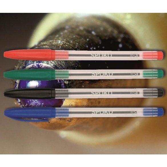 Golyóstoll eldobható piros 0115 Spoko ;-) - kupakos, átlátszó tolltest, 0,5mm