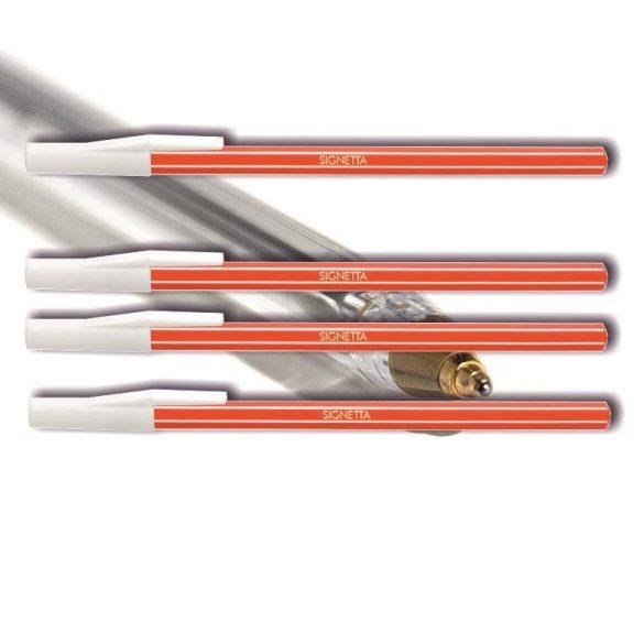 Golyóstoll eldobható piros Signetta ICO - kupakos, csíkos tolltest, 0,7mm