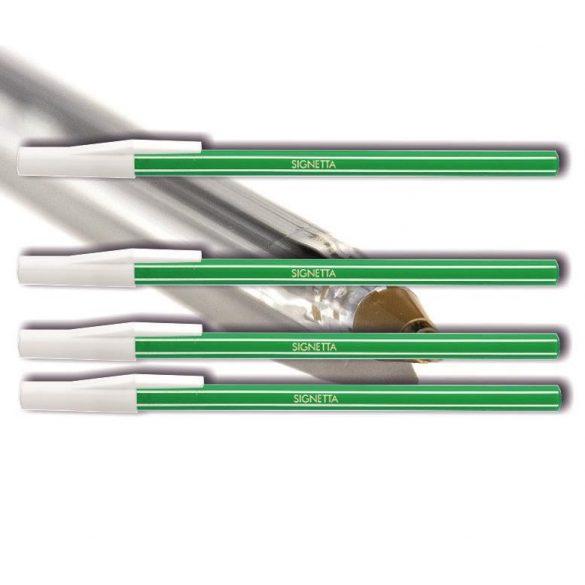 Golyóstoll eldobható zöld Signetta ICO - kupakos, csíkos tolltest, 0,7mm