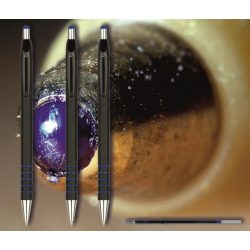 Golyóstoll kék 0118 Spoko ;-) - nyomógombos, fekete tolltest, 0,5mm (X-18 0293 betéttel)