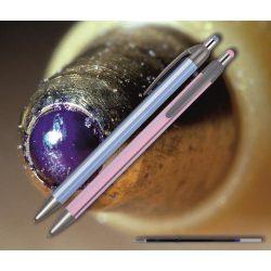 Golyóstoll kék 0118 Spoko ;-) - nyomógombos, színes csíkos tolltest, 0,38mm (X-18 0296 betéttel)