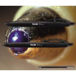 Golyóstoll fekete P1 Touch Milan - nyomógombos, fekete tolltest, 0,7mm (X-18 betéttel)
