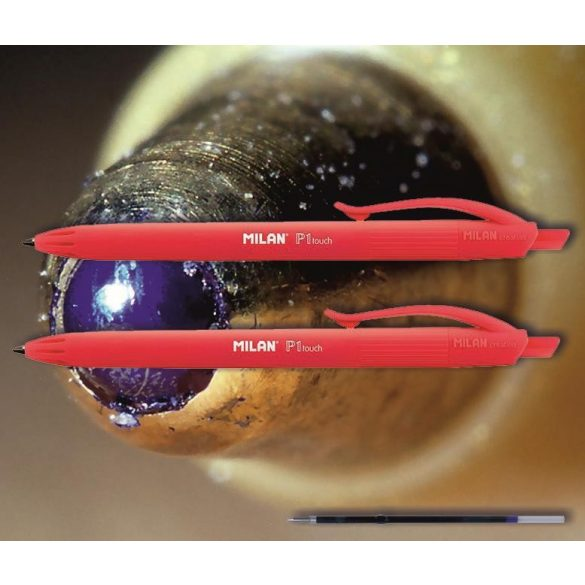 Golyóstoll piros P1 Touch Milan - nyomógombos, piros tolltest, 0,7mm (X-18 betéttel)