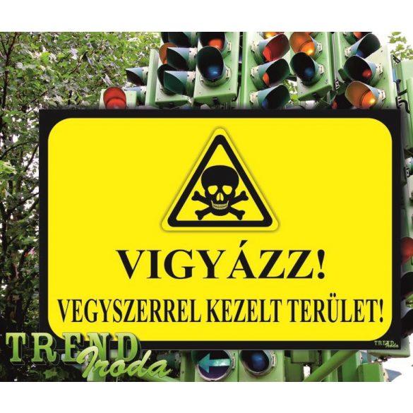 """Információs tábla """"Vigyázz - Vegyszerrel kezelt terület"""" citromsárga-fekete IrodaTREND 300x200mm"""