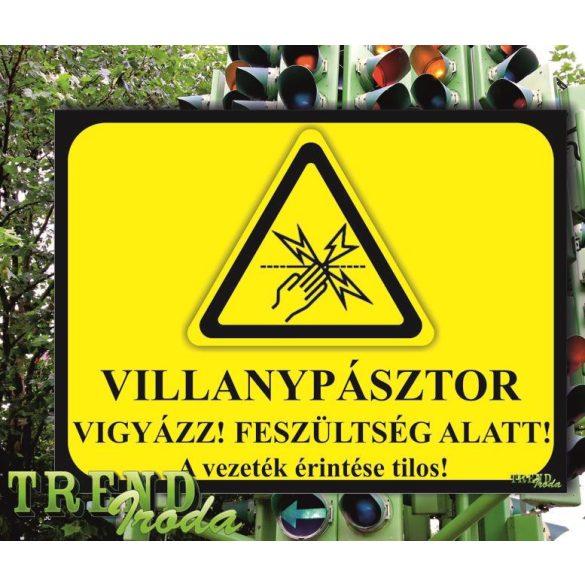 """Információs tábla """"Villanypásztor"""" citromsárga-fekete IrodaTREND 200x150mm"""